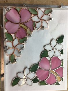 hibiscus and plumeria stained glass, to be used as corner pieces on a mirror