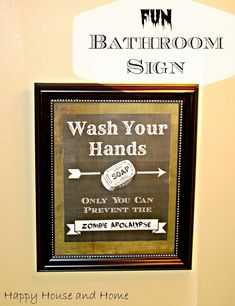 This free printable makes the cutest FUN Bathroom Sign (Wash Your Hands) for the kids, or your, bathroom!