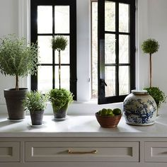Blue and white porcelain, topiaries and black windows...perfection! Designer @shelleyjohnstonedesign • • • • #interiors #interior #designer #designer #designstyle #interiorstyle #interiorstyling #interiordesign #kitchen #topiary #interiorinspiration #architecture #instadesign #inspo #homedecor #interiorinspiration #adlovers #decorlovers #love #beautiful #charming #instagood #instyle #instaphoto #instagram #blogger #photooftheday #home #homestyle