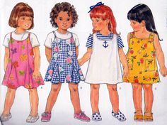 Butterick Sewing Pattern 4411, Girls Jumper Dress, Romper and Top Sewing Patterns, Girls Sizes 2,3 and 4, Circa 1996, Uncut, Fast and Easy by OnceUponAnHeirloom on Etsy