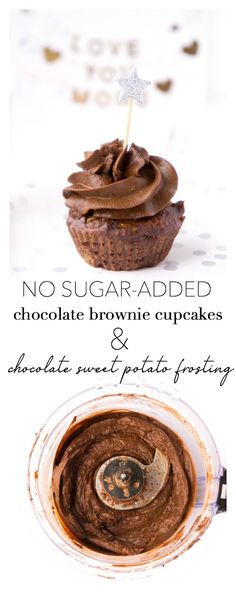 These gluten-free and paleo no-sugar added chocolate brownie cupcakes make the perfect rich, decadent and healthy treat for babies, children and adults! Especially great for baby-led weaning, as a healthier treat for childrenand baby's first birthday! Healthy Cupcake Recipes, Healthy Cupcakes, Healthy Desserts, Healthy Baking, Baby Food Recipes, Dessert Recipes, Paleo Dessert, Healthy Frosting, Vanilla Frosting