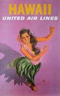 Vintage Hawaii travel poster for United Air Lines, circa A young woman wearing a lei and in a grass skirts performs a hula dance. New in Vintage Hawaii Posters. United Airlines, Vintage Travel Posters, Vintage Postcards, Vintage Ads, Vintage Airline, Vintage Style, Vintage Tiki, Fashion Vintage, Vintage Images