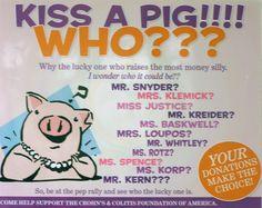 Nette Idee um das Spielgeld für weitere Fundraising-Aktionen zu verdienen. Ihr braucht Plastikschweinspardosen und ein großes Schwein zum Küssen (z.B. Schwein KNORRIG, 37 cm lang, 7 Euro von IKEA)