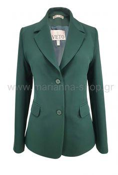 Σακάκι μεσάτο πράσινο Blazers, Jackets, Shopping, Women, Fashion, Down Jackets, Moda, Women's, Fashion Styles