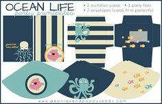 Ocean Party Printables: Invitations and Party Hats. Free!