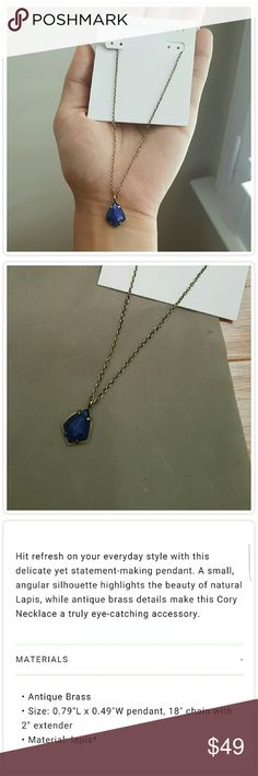 Kendra Scott Lapis 'Cory' Necklace Delicate antique brass chain showcases this gorgeous deep blue stone. See 3rd photo for more info- NWT. No trades please- offers welcome. Kendra Scott Jewelry Necklaces