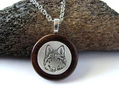 Wolf Wood Pendant $25