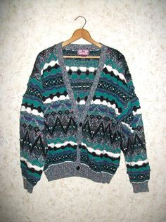 8ef65b3b61eec Vintage 80s Textured Cardigan Sweater Concrete Abstract Green Black Pattern  Sweater 1980s Retro Fashion Hipster Boho Grunge Mens XL