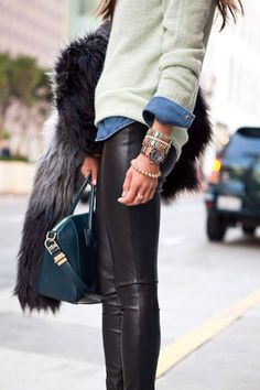 Leather and Layers: mix of edgy Faux Leather Pants (Anarchy Street) with preppy Vintage Denim Shirt, mint J. Crew Sweater layered over it. Plus teal Givenchy bag! ~ H Faux Fur Jacket, Thakoon Ankle Boots, Amrita Singh Rainbow Bracelet, CC Skye Spike Bracelet, Swarovski Watch. #Casual