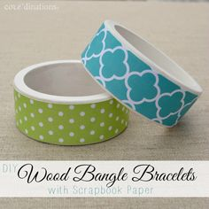 Wood Bangles with Scrapbook Paper