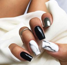 Nails in white marble, black and silver. Beautiful nails @ Nails in white marble, black and silver. Beautiful nails @ … Nails in white marble, black and silver. Beautiful nails @ Nails in white marble, black and silver. Silver Nail Designs, Marble Nail Designs, Acrylic Nail Designs, Nail Art Designs, Nails Design, Square Nail Designs, Black Silver Nails, Black Acrylic Nails, Black Marble Nails
