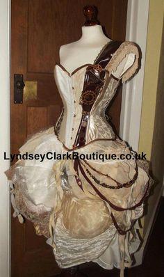Steampunk victorian corset bustle wedding dress by LyndseyBoutique