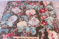 """Antique French Hand Blocked Cabbage Rose HomeDec Fabric c1880~1yd33""""LX32""""W"""