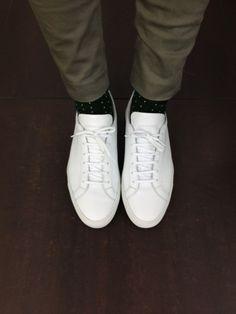 white shoes polka dot socks