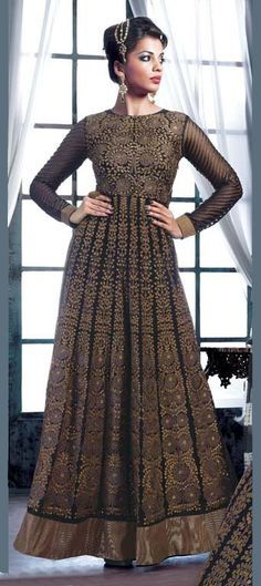 413457: BOLLYWOOD COLLECTION - #GetThisLook like #MugdhaGodse in  bronze embroidery #anarkali. Like it?