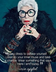 Trendy Yet Timeless: Iris Apfel Colour Collection for MAC. Products included in the Iris Apfel for MAC collection, including pricing and availability dates. Iris Apfel Documentary, Iris Apfel Quotes, Look Fashion, Fashion News, Iris Fashion, Fashion Models, Fashion Beauty, Fashion Style Quotes, Beauty Style