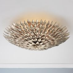Olive Leaf Ceiling Chandelier. Semi flush light.  Great dramatic effect for a foyer.  Gold or silver leaf. Perfect for low ceiling rooms. Gorgeous!