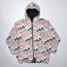 Vintage FILA 90s Reversible Jacket / FILA International / All Over Printed Jacket / FILA Windbreaker / Italia Jacket / Fila Jacket Hoodie