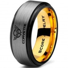 Silver Tungsten Ring with Step Edge Brushed Finish 8mm Tungsten Wedding Band Corvette Ring Chevrolet Ring Chevy Ring