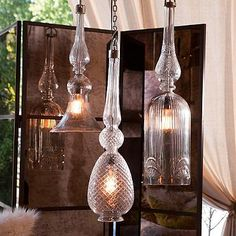 Edwardian Cut-Glass Pendant Lights from Grandin Road.   Generous proportions, elegant style.  Mix or match.  $200-$250.