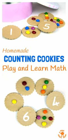 HOMEMADE COUNTING COOKIES MATH GAME - great for early number skills and imaginative play. Easy preschool learning at home. Number recognition, counting and one to one correspondence. Math For Kids, Fun Math, Math Games, Diy For Kids, Number Games, Preschool Learning Activities, Toddler Activities, Preschool Activities, Nursery Activities