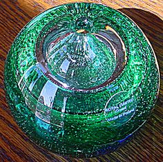 Green Controlled Bubble Glass Paperweight Pen or Candle Holder