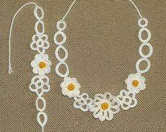 Romantic crochet necklace and bracelet with lovely by zolayka, $30.00