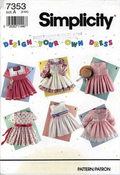 90s Sewing PATTERN Simplicity 7353 Little Girls Dress full skirt size 2 to 6x #Simplicity