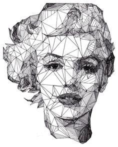 Geometric portrait of Marilyn Monroe Art And Illustration, Illustrations, Portrait Illustration, Arte Pop, Pop Art, Inspiration Art, Art Graphique, Creative Portraits, Creative Art