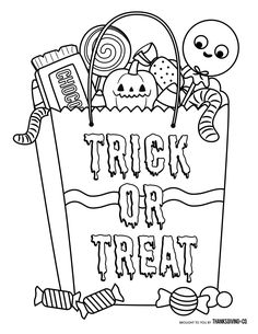 Trick or treat! Halloween candy bag coloring page