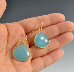 something blue. . . Aqua Blue Chalcedony Earrings in Gold by Nutmegjewelrydesigns, $62.00