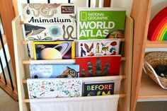 What's on our (Book) Shelves - Link Up (how we montessori) Montessori Books, Montessori Toddler, Maria Montessori, Montessori Activities, Infant Activities, Toddler Preschool, Activities For Kids, Storing Books, Bookshelves
