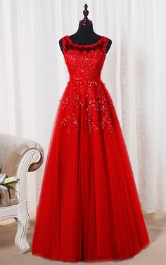 Cheap Lace Sleeveless Embroidery Long Sheer Back Red A Line Floor Length Tank Prom Dress