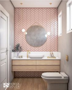 pink bathroom Rosa F - bathroomdecoration Bathroom Layout, Bathroom Interior Design, Modern Bathroom, Small Bathroom, Boho Bathroom, Master Bathroom, Blush Bathroom, Bathroom Ideas, Pink Bathroom Tiles