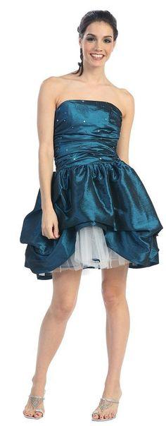 Teal Cocktail Dress Taffeta Teal Prom Dress Strapless Tulle Skirt $139.99