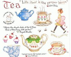 SUSAN BRANCH TEA KETTLE CUP COFFEE JULIA CHID GIRL SCRAP BOOKING STICKER FOOD