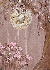 MOON TREE  Original Painting on Wood  1 x 1 and 1/4 Inches by Majo, $20.00