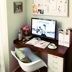 Create an inspirational workspace that is simple, modern, and organized. A place where you can decompress, relax, and gather your thoughts.