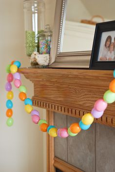 Easter egg garland- great way to use up all those plastic eggs