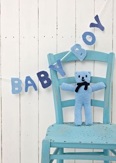 Baby Boy bunting and adorable blue teddy