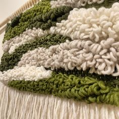 Using coloured woolen yarn to create these wall hangings - using weaving techniques on a weaving loom. Mainly rya loops and tabby weave. Perfect wall decor, adding woven texture and warmth! Green / warm / white Super Happy, Loom Weaving, Weaving Techniques, Weave, Wall Decor, Texture, Wall Hangings, Green, Color