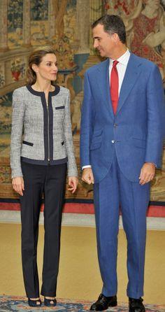 King Felipe VI and Queen Letizia of Spain receive audiences at Zarzuela, Madrid. June 24, 2014