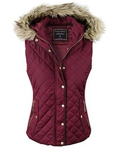makeitmint Women s Quilted Padding Jacket Vest with Faux Fur Hood at Amazon  Women s Coats Shop 25730b1e3f