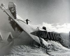 Skiing on the roof of Paradise Inn, 1951 Alpine Skiing, Snow Skiing, Ski And Snowboard, Snowboarding, Cool Photos, Beautiful Pictures, Vintage Ski Posters, Snow Pictures, Snow Photography