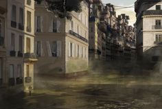 "This was a school project for a concept art module that had as a theme ""Paris City"". The following story was my take on the theme: ""Paris suffered a great hit after WW2. Its buildings were destroyed by the bombings and the Seine flooded the city. The ground floor of Paris became a swamp. Parisians had no choice but to start moving up, building on top of the existing Paris buildings."""