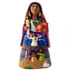 Tall lady with nativity scene on skirt, Josefina Aguilar