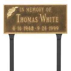 Montague Metal Products Memorial Plaque Finish: White/Gold