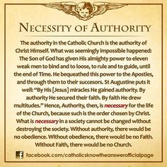 The authority in the Catholic Church is the authority of Christ Himself...