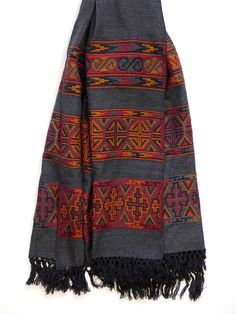 Hand loom Merino Wool Kullu Shawl / Blanket Scarf. Buy on http://naggarvalley.com/product/hand-loom-woollen-shawl-dark-grey-orange-red-black-octagon-and-cross-design/