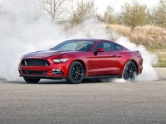 Burning some rubber in a 2016 Ford Mustang GT  with